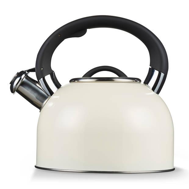 Blokker fluitketel Comfort 2,5 liter - RVS - wit/crème