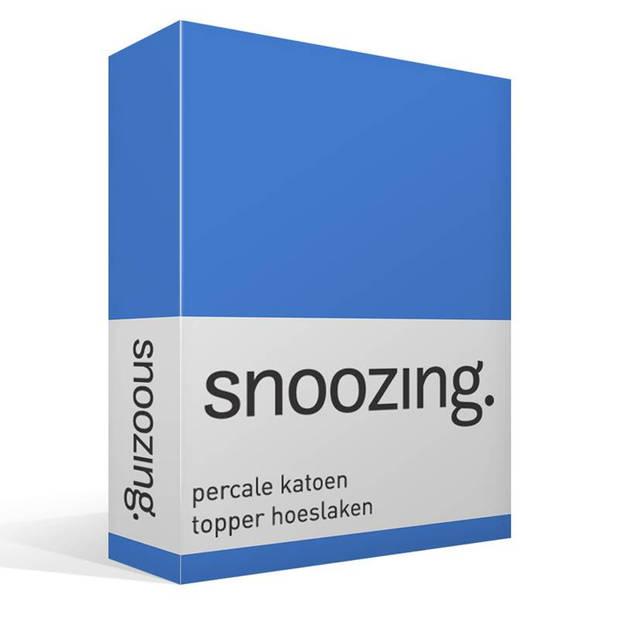 Snoozing - Topper - Hoeslaken - 90x210 cm - Percale katoen - Grijs