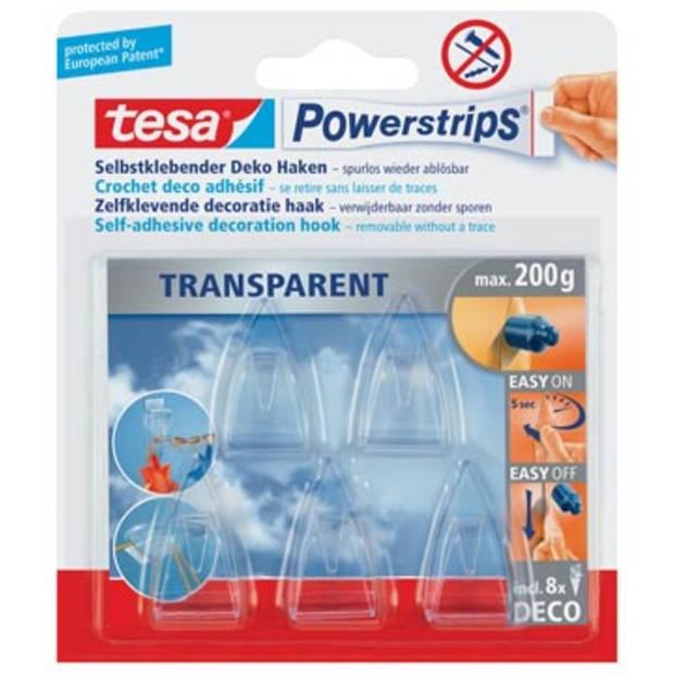 Tesa zelfklevende haken Powerstrips, draagkracht 200 g, blister van 8 strips en 5 haakjes