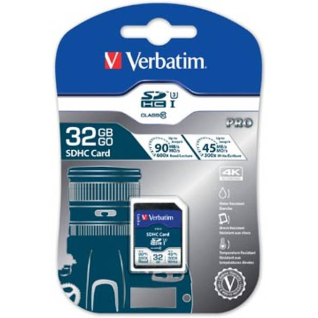 Verbatim SDHC geheugenkaart UHS-I, klasse 10, 32 GB
