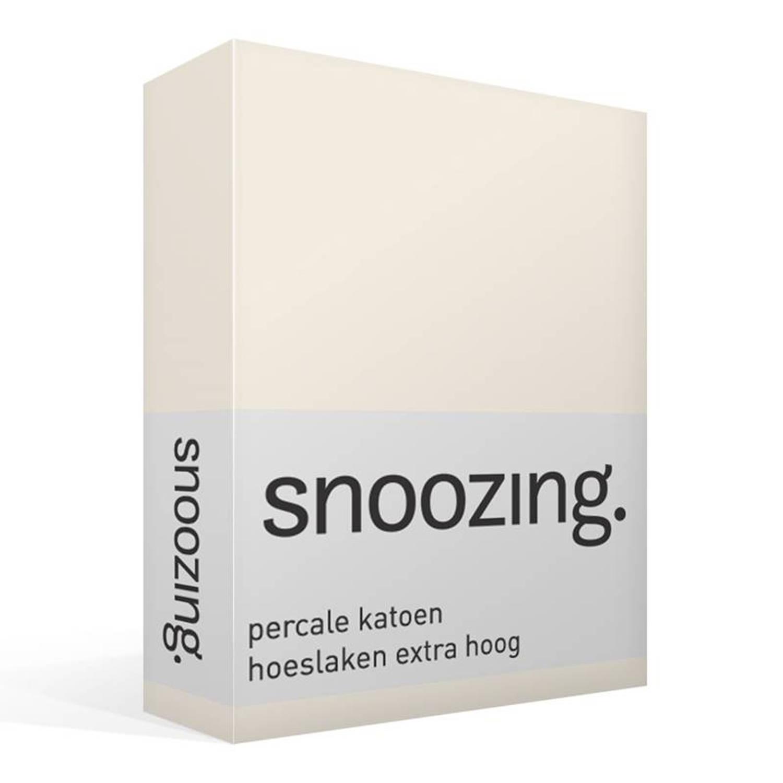 Snoozing percale katoen hoeslaken extra hoog - Lits-jumeaux (180x200 cm)