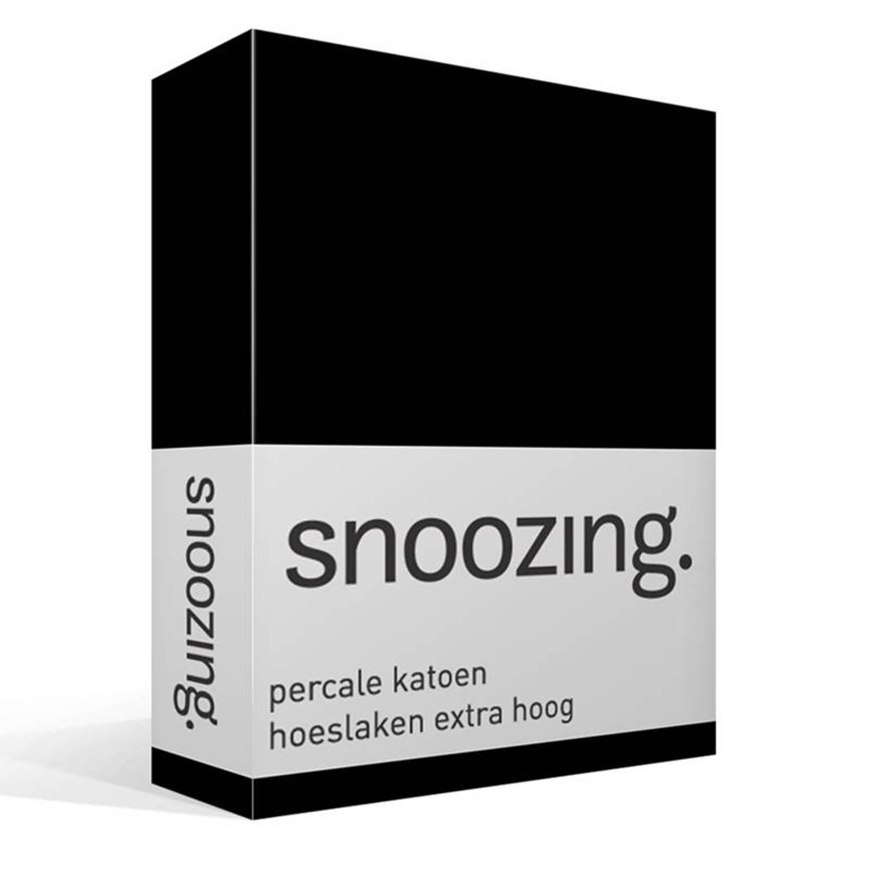 Snoozing percale katoen hoeslaken extra hoog - 100% percale katoen - Lits-jumeaux (160x220 cm) - Zwart