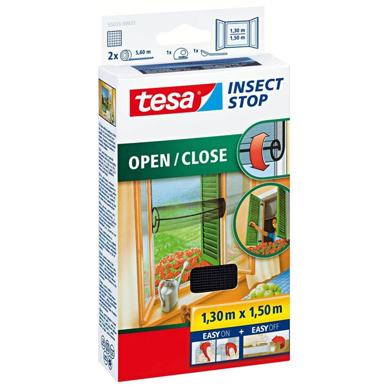 Tesa Vliegenraam Raam Open/Close 1.30m x 1.50m Zwart