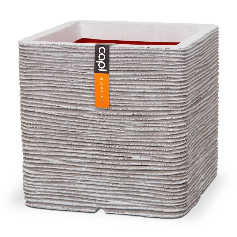 Pot Vierkant Rib Nl 40x40x40 Ivoor