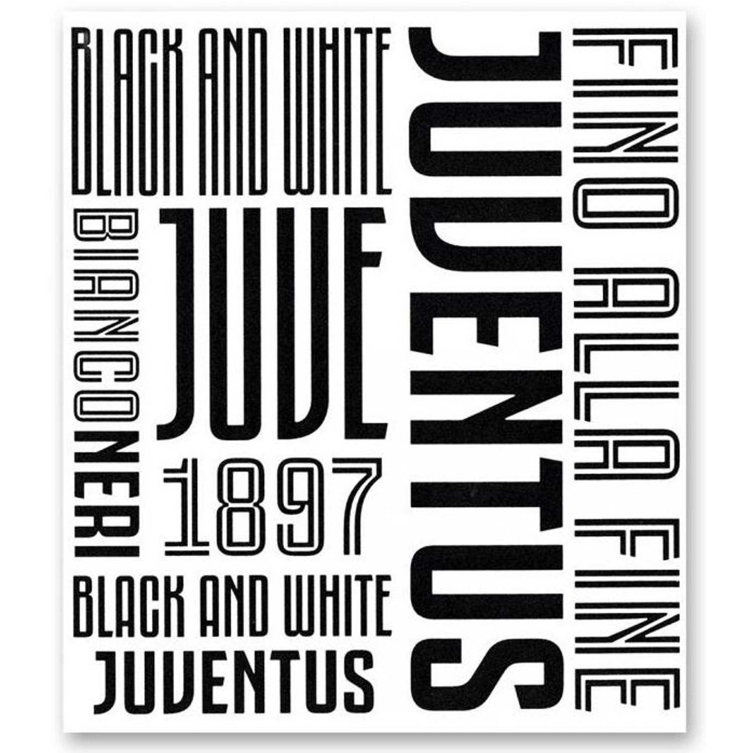 Juventus muursticker Graphic 2 stickervellen zwart/wit