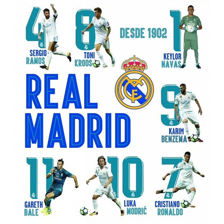 Real Madrid muursticker 16 spelers en logo 2 stickervellen