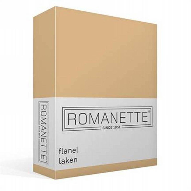 Korting Romanette Flanellen Laken 100 procent Geruwde Flanel katoen Lits jumeaux (240x260 Cm) Zand