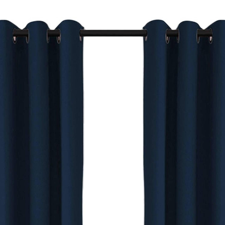 Larson - Luxe verduisterend gordijn met ringen- 300x250 cm - Dark Blue