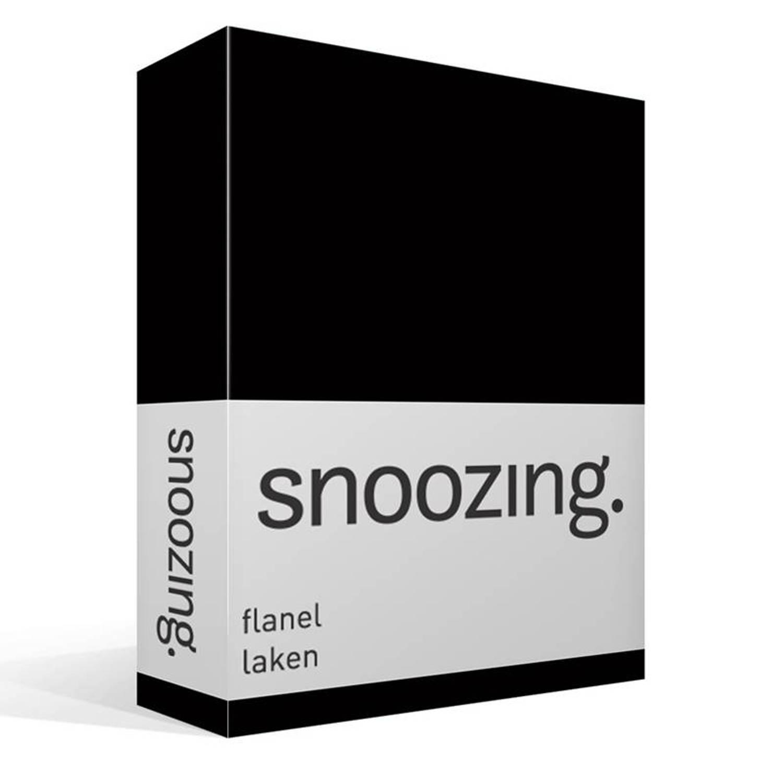 Snoozing flanel laken - 100% geruwde flanel-katoen - 2-persoons (200x260 cm) - Zwart