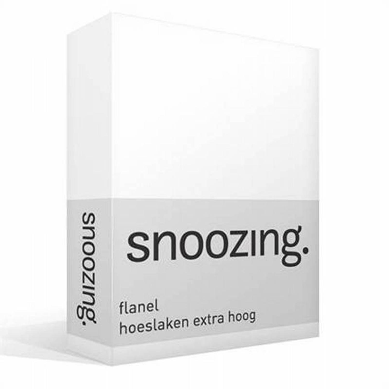 Snoozing flanel hoeslaken extra hoog - 100% geruwde flanel-katoen - 1-persoons (90/100x220 cm) - Wit