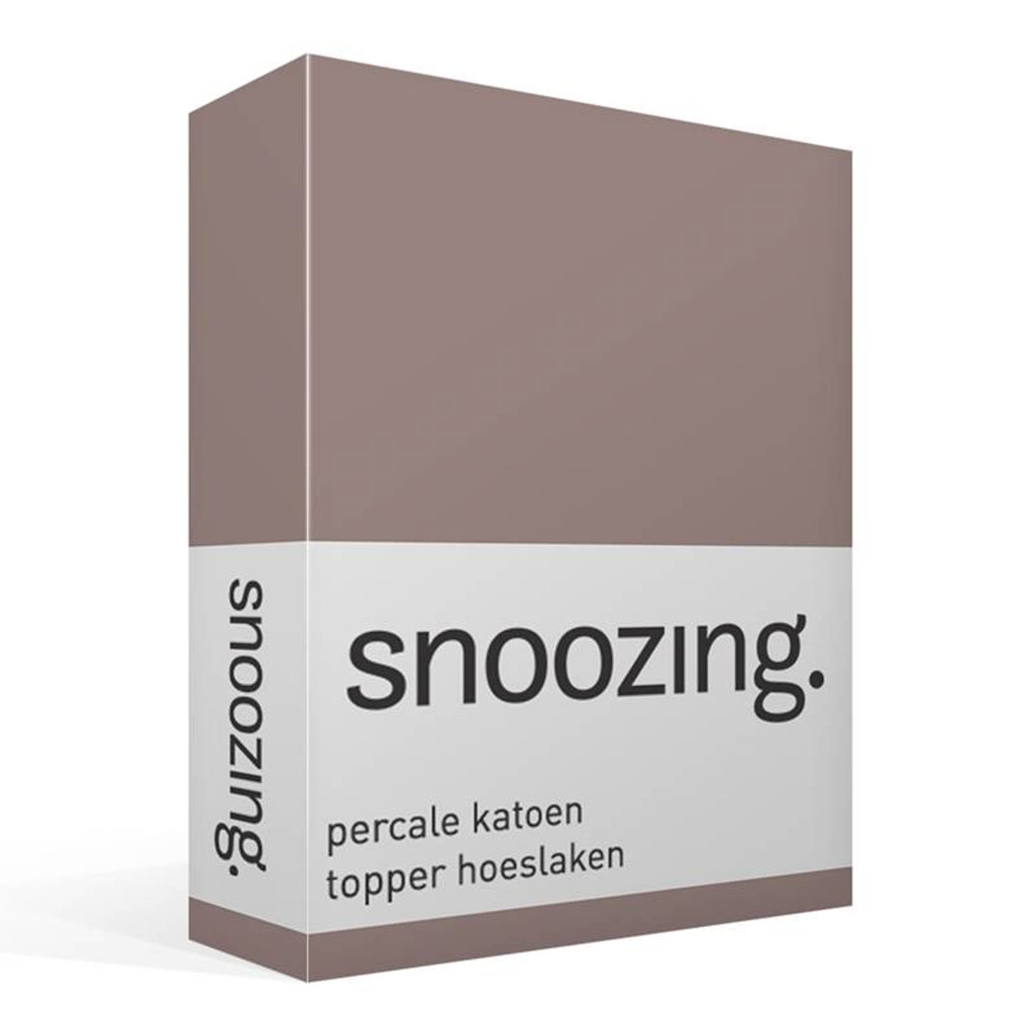 Snoozing percale katoen topper hoeslaken - 100% percale katoen - 1-persoons (90x200 cm) - Taupe