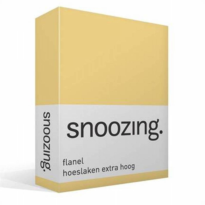 Snoozing flanel hoeslaken extra hoog - 100% geruwde flanel-katoen - 2-persoons (120x200 cm) - Geel