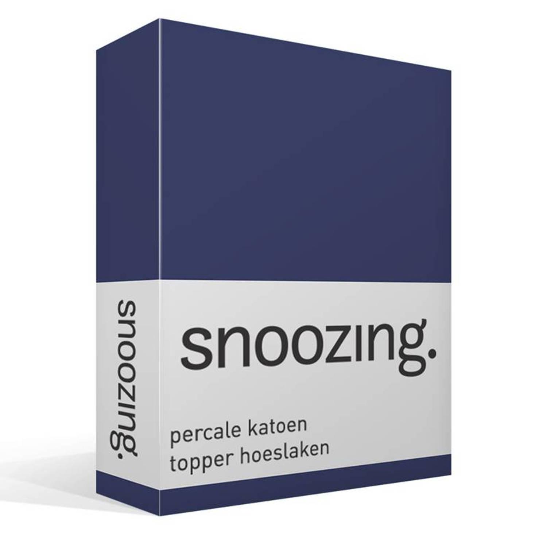 Snoozing percale katoen topper hoeslaken - 100% percale katoen - 1-persoons (100x200 cm) - Blauw