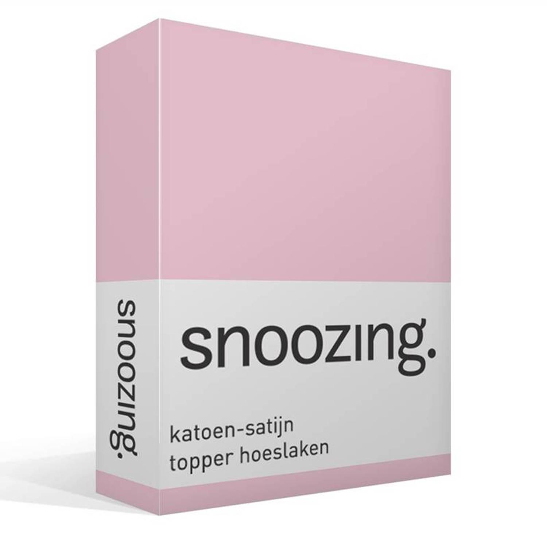 Snoozing katoen-satijn topper hoeslaken - 100% katoen-satijn - 2-persoons (140x220 cm) - Roze