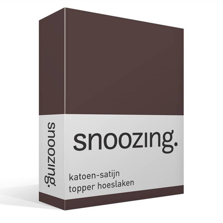 Snoozing katoen-satijn topper hoeslaken - 100% katoen-satijn - 1-persoons (90x210 cm) - Bruin