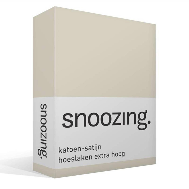 Snoozing katoen-satijn hoeslaken extra hoog - 100% katoen-satijn - 1-persoons (100x200 cm) - Ivoor