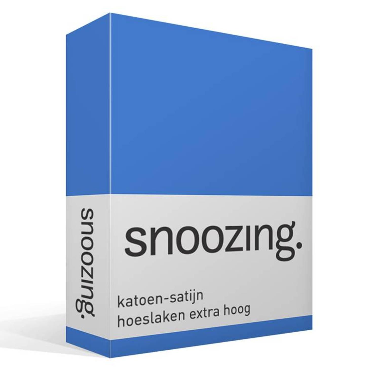 Snoozing katoen-satijn hoeslaken extra hoog - 100% katoen-satijn - 2-persoons (140x200 cm) - Blauw