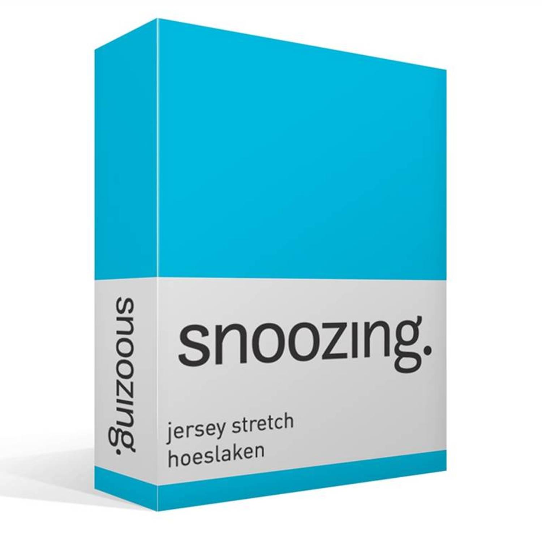 Snoozing jersey stretch hoeslaken - 95% gebreide katoen - 5% elastan - 1-persoons (90/100x200/220 cm) - Blauw