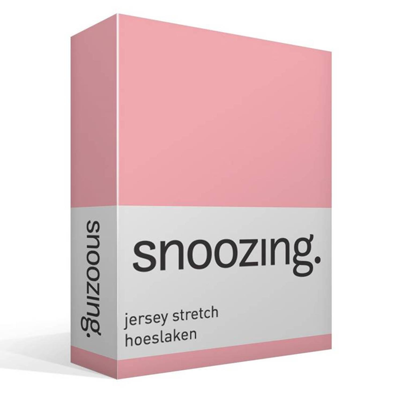 Snoozing jersey stretch hoeslaken - 95% gebreide katoen - 5% elastan - 2-persoons (120/130x200/220 cm) - Roze