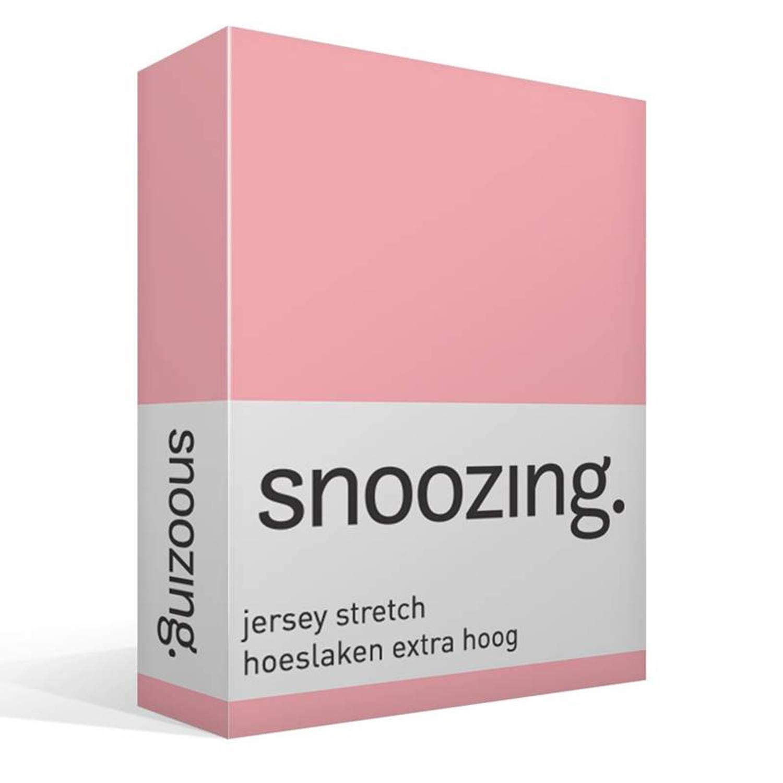 Snoozing jersey stretch hoeslaken extra hoog - 95% gebreide katoen - 5% elastan - 1-persoons (90/100x200/220 cm) - Roze