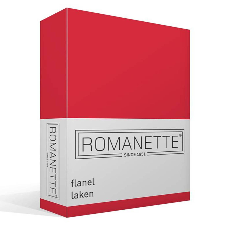 Romanette flanellen laken - 100% geruwde flanel-katoen - 2-persoons (200x260 cm) - Rood
