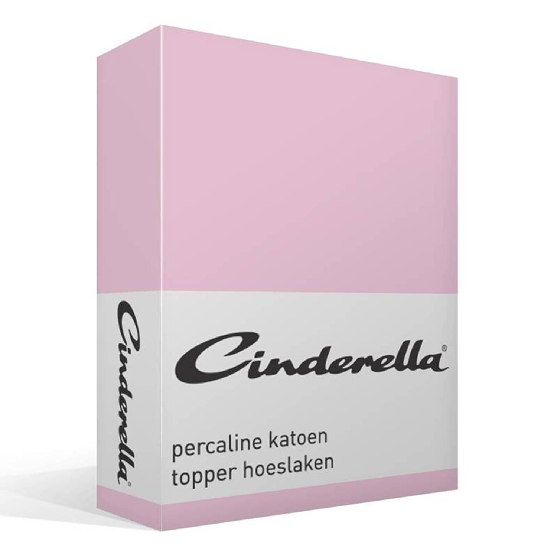 Cinderella basic percaline katoen topper hoeslaken - 100% percaline katoen - 1-persoons (90x210 cm) - Roze