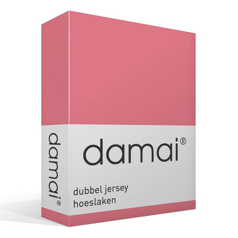 Damai dubbel jersey hoeslaken - 100% dubbel gebreide katoen - 2-persoons (120/130x200/210/220 cm) - Roze