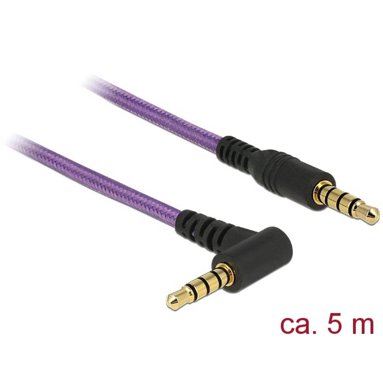 Delock 3,5 mm jack kabel haaks 4 pins 5,0 meter paars