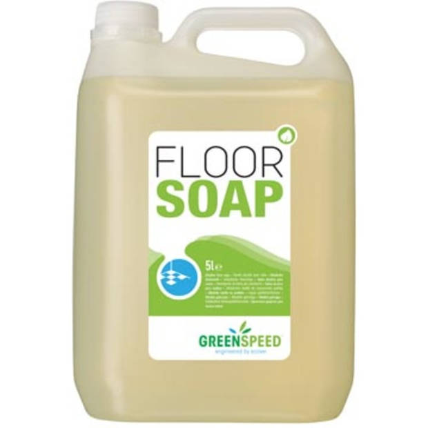 Greenspeed vloerzeep met lijnzaadolie, voor poreuze vloeren, citrusgeur, flacon van 5 liter