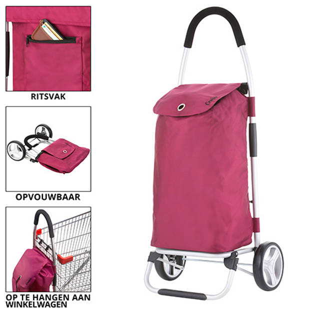 ShoppingCruiser 'Foldable' Boodschappentrolley Opvouwbare boodschappenwagen 45 ltr Afneembare tas Roze
