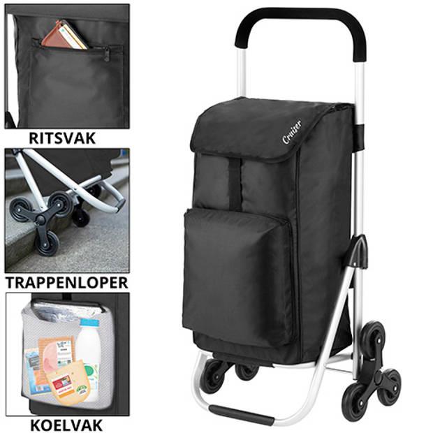 ShoppingCruiser 'Stair Climber' Boodschappentrolley 49+4 ltr Handige Trappenloper Boodschappenwagen Zwart