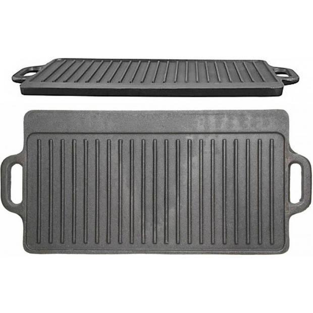 Gietijzeren Grillplaat Dubbelzijdig - 45cm x 23cm - KitchenCraft Cast Iron