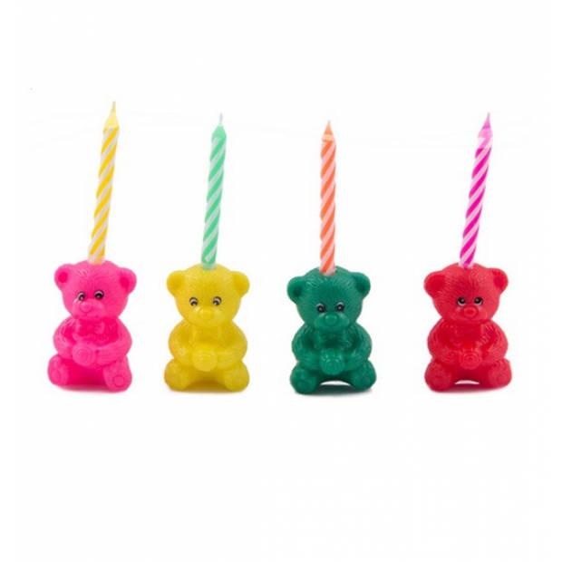 Beertjes taart kaarsjes 4x stuks - Verjaardag kaarsjes voor op taart of gebak