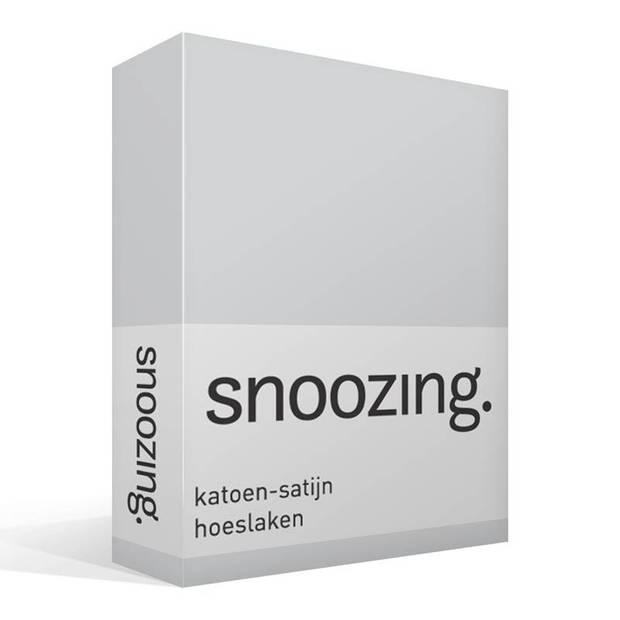 Snoozing - Katoen-satijn - Hoeslaken - 90x220 - Grijs