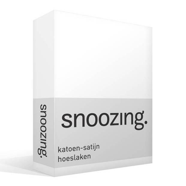 Snoozing - Katoen-satijn - Hoeslaken - 180x200 - Wit