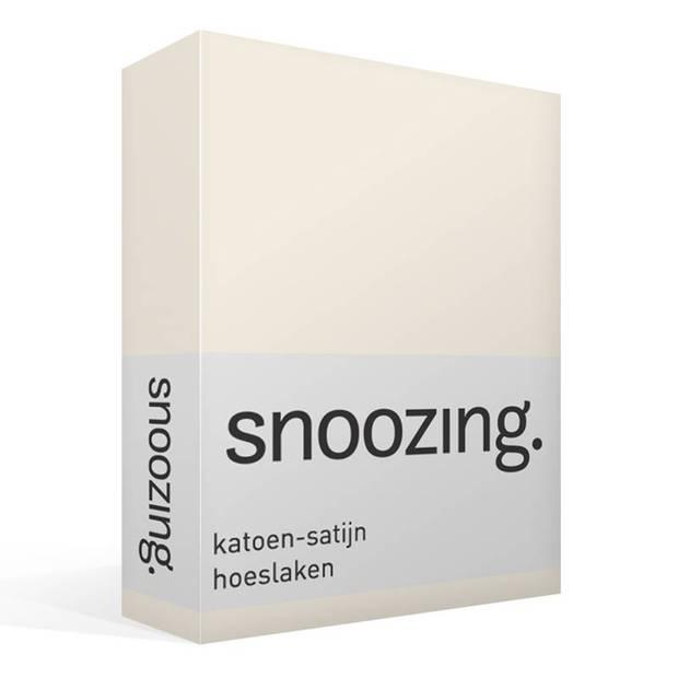 Snoozing - Katoen-satijn - Hoeslaken - 200x200 - Ivoor