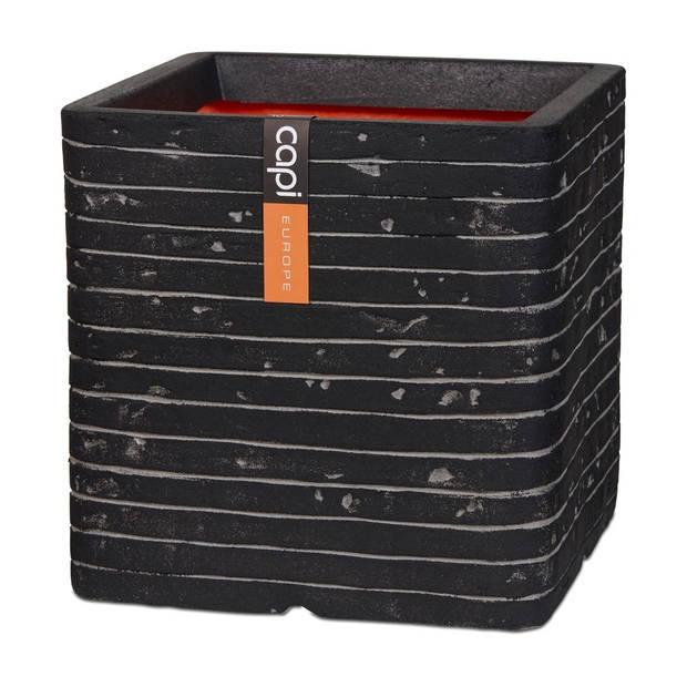 Bloempot Pot vierkant row NL 30x30x30 antraciet Capi Europe