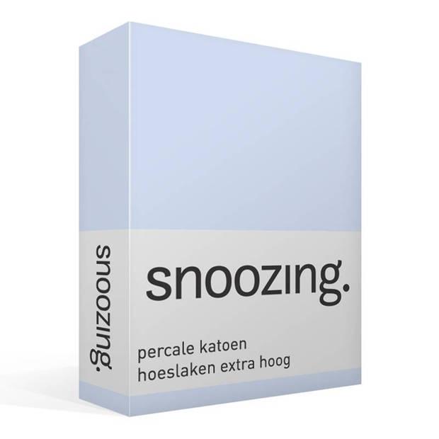 Snoozing - Hoeslaken - Percale katoen - Extra Hoog - 180x220 - Hemel