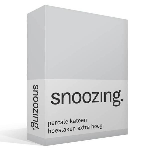 Snoozing - Hoeslaken - Percale katoen - Extra Hoog - 140x220 - Grijs