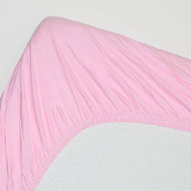 Snoozing - Hoeslaken - Percale katoen - Extra Hoog - 100x220 - Roze