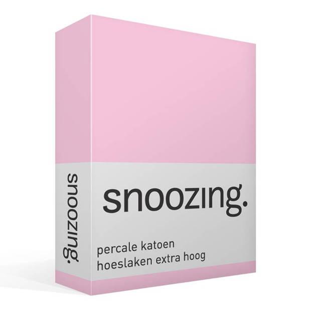 Snoozing - Hoeslaken - Percale katoen - Extra Hoog - 180x200 - Roze