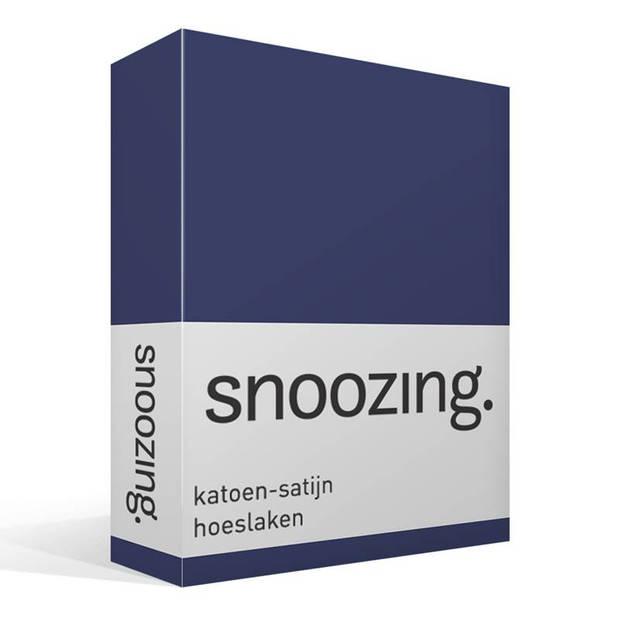 Snoozing - Katoen-satijn - Hoeslaken - 160x200 - Navy