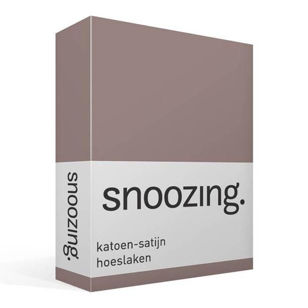 Snoozing - Katoen-satijn - Hoeslaken - 200x200 - Taupe