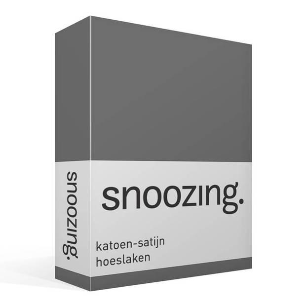 Snoozing - Katoen-satijn - Hoeslaken - 140x200 - Antraciet