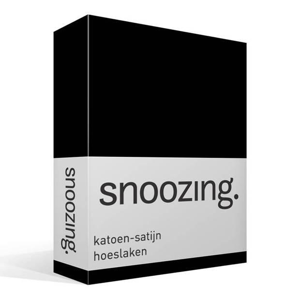 Snoozing - Katoen-satijn - Hoeslaken - 200x200 - Zwart