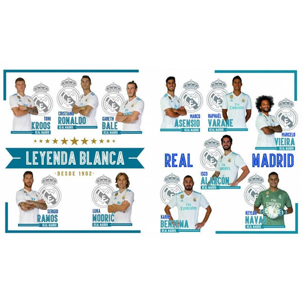 Real Madrid muurstickers 11 spelers 2 stickervellen