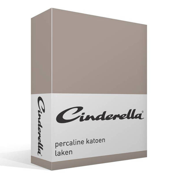 Cinderella Basic percaline katoen laken - 100% percaline katoen - 1-persoons (160x260 cm) - Taupe