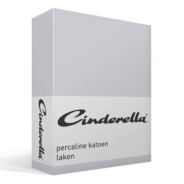Cinderella Basic percaline katoen laken - 100% percaline katoen - Lits-jumeaux (240x260 cm) - Grijs