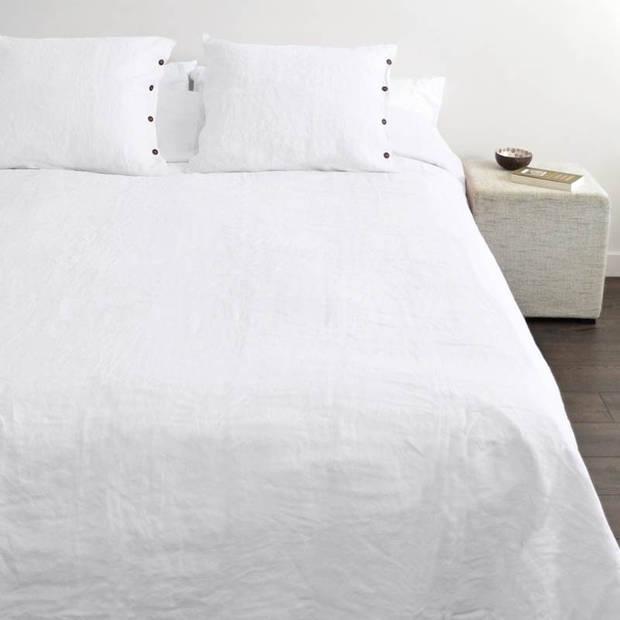 Snoozing Linnen dekbedovertrek - Lits-jumeaux (240x200/220 cm + 2 slopen) - Linnen / Percal katoen - White