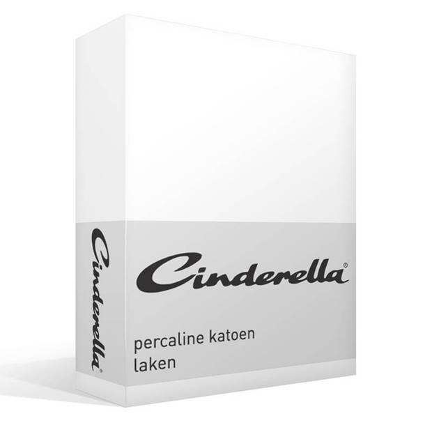 Cinderella Basic percaline katoen laken - 100% percaline katoen - 1-persoons (160x260 cm) - Wit